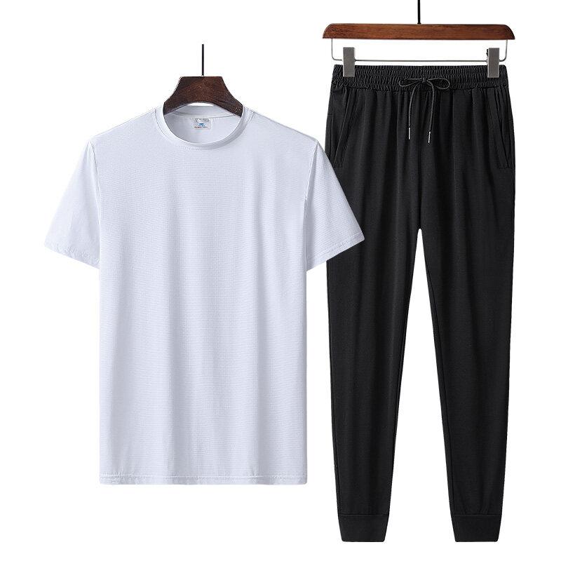 9801+2208夏季短袖冰丝t恤男士套装韩版潮流宽松休闲