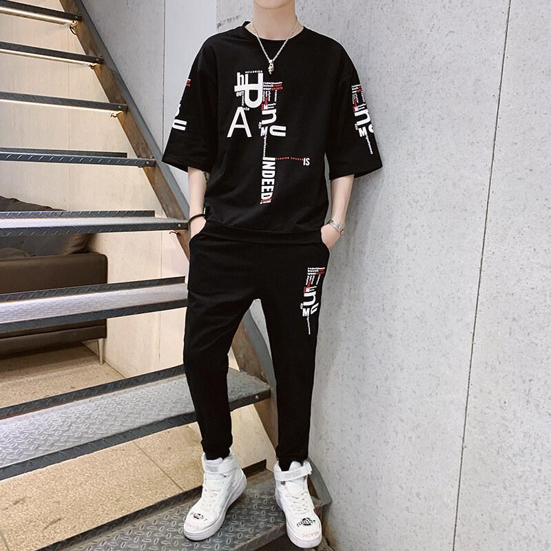 T59夏季九分裤套装男士2020新款薄休闲圆领短袖T恤男运动两件