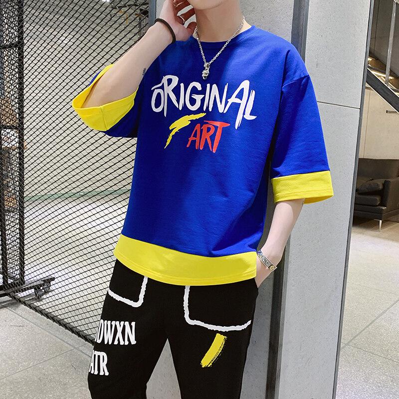 T56夏季九分裤套装男士2020新款薄休闲圆领短袖T恤男运动两件
