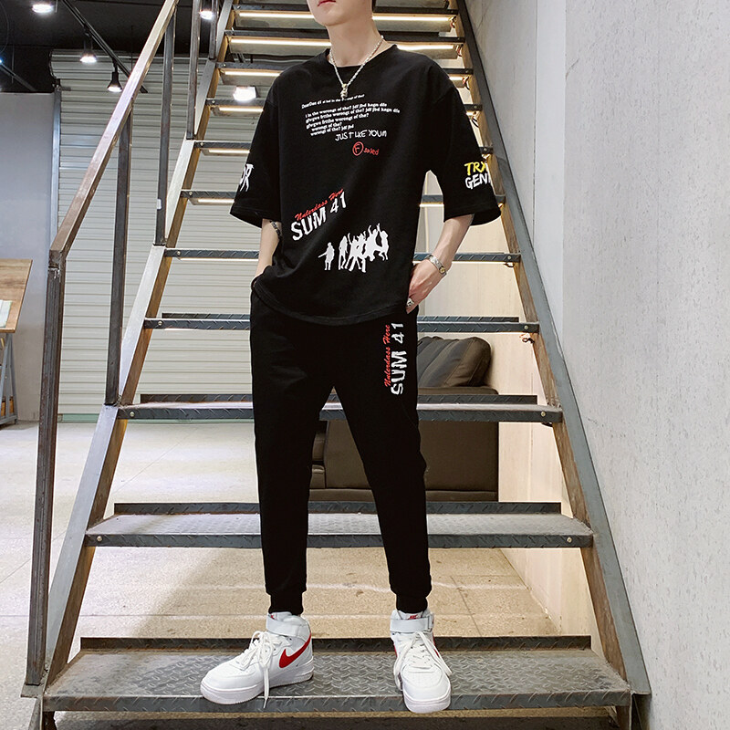T58夏季九分裤套装男士2020新款薄休闲圆领短袖T恤男运动两件