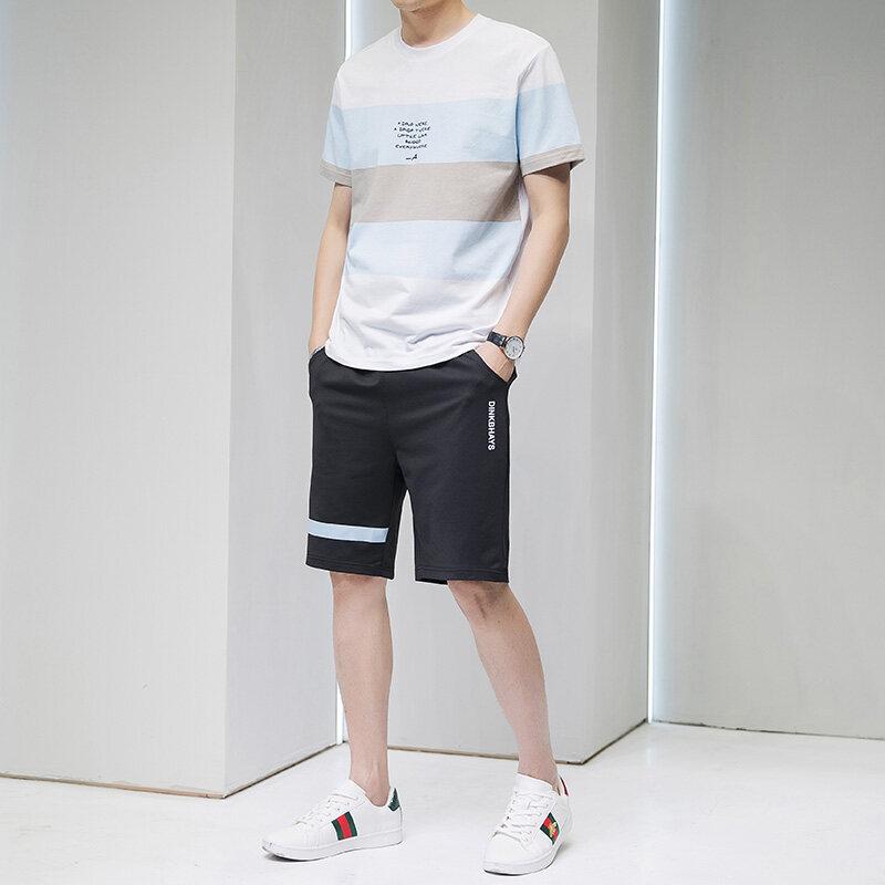 K37男士短袖t恤套装夏季韩版潮流休闲一套潮牌搭配帅气男装衣服