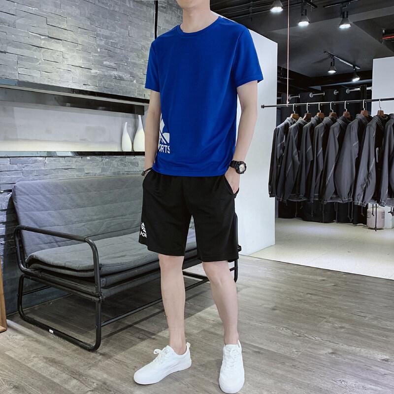 K89男士短袖t恤套装宽松搭配夏季休闲运动帅气一套