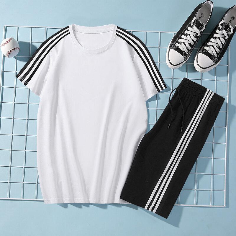 20920新款男士冰瓷棉运动短袖短裤休闲宽松韩版针织运动套装