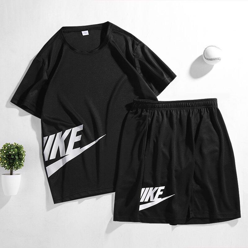 21020新款男士运动套装网眼透气半耐克短袖短裤休闲套装