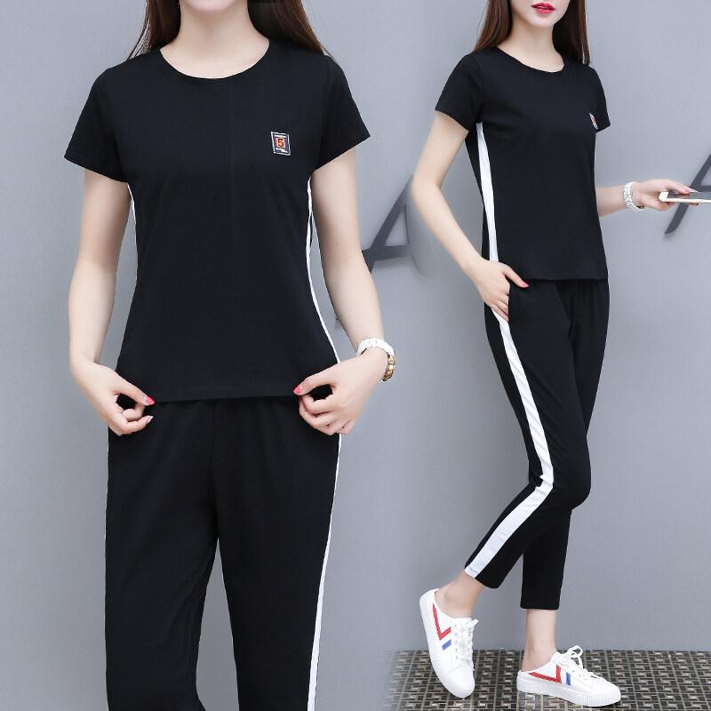 k18082020夏季女装大码时尚运动套装两件套九分裤休闲套装女潮