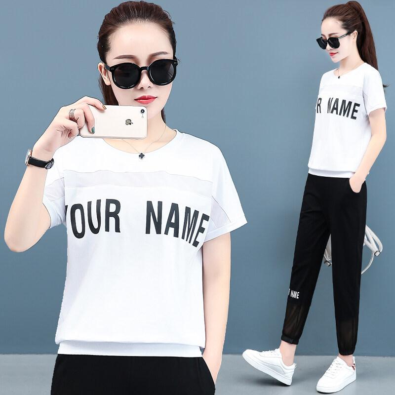 k1813 运动套装女夏装2020新款韩版时尚宽松跑步服大码短袖九分裤