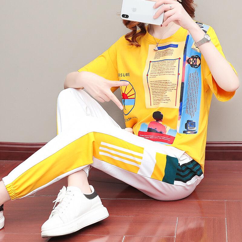 920休闲套装女夏季2020新款潮牌时尚洋气显瘦韩版纯棉长裤两件套