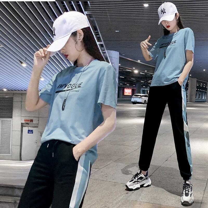 DSHF201款短袖套装图荣夏季款潮牌短袖运动服套装女韩版时尚印花长裤学生休闲二件套
