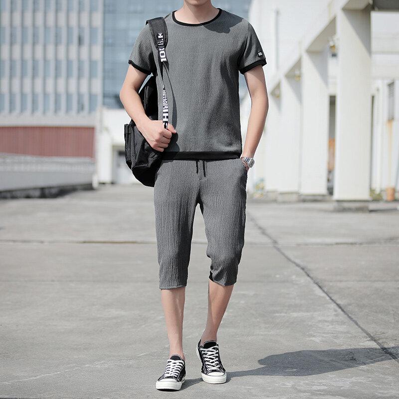 133夏季男装休闲运动套装短裤两件套短袖t恤七分裤子夏天冰丝超薄款
