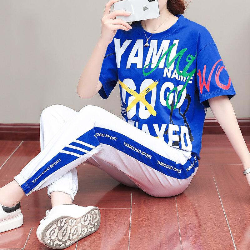 936休闲套装女夏季2020新款潮牌时尚洋气显瘦韩版纯棉长裤两件套