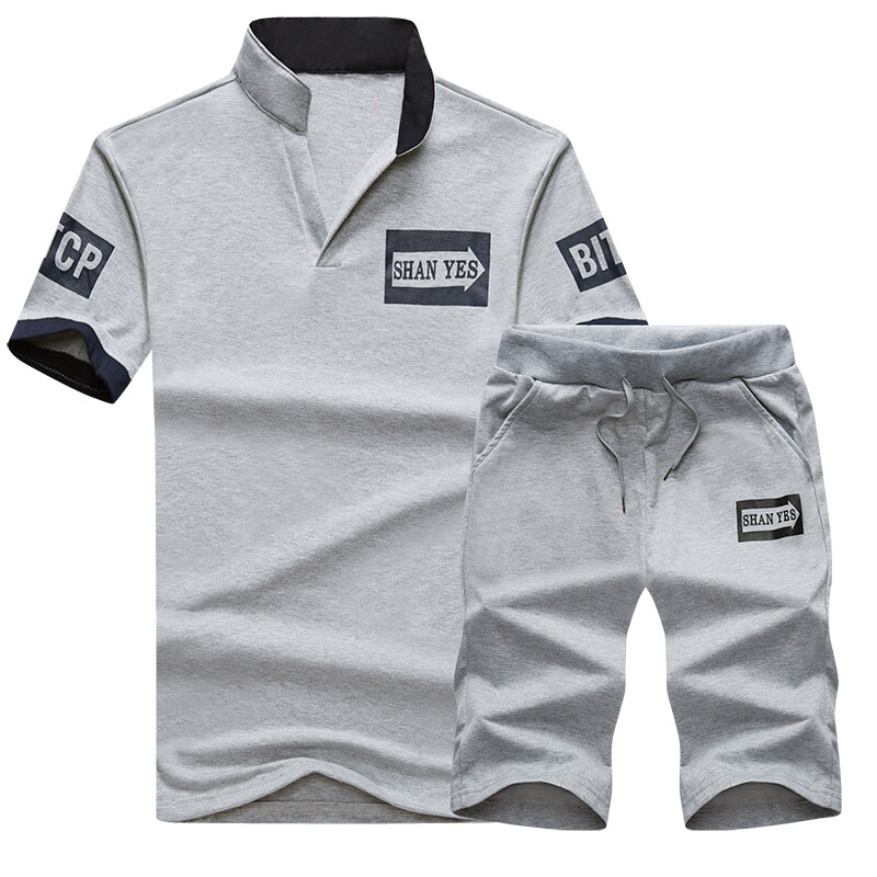 D47男士短袖t恤套装宽松搭配夏季休闲运动帅气一套潮流