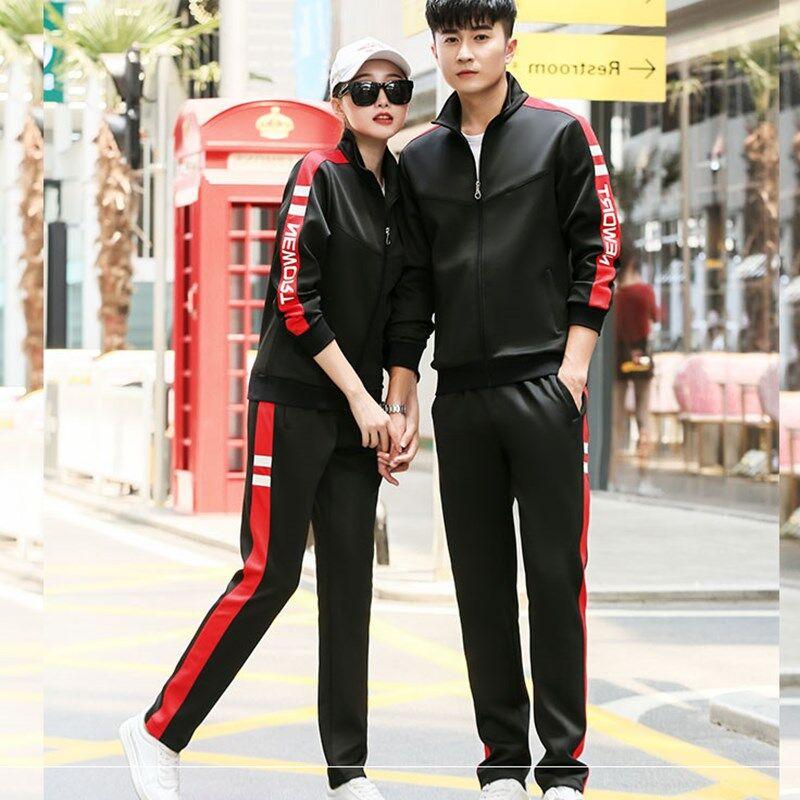 青少年男运动套装户外长袖外套跑步女士春秋长裤运动服两件套情侣