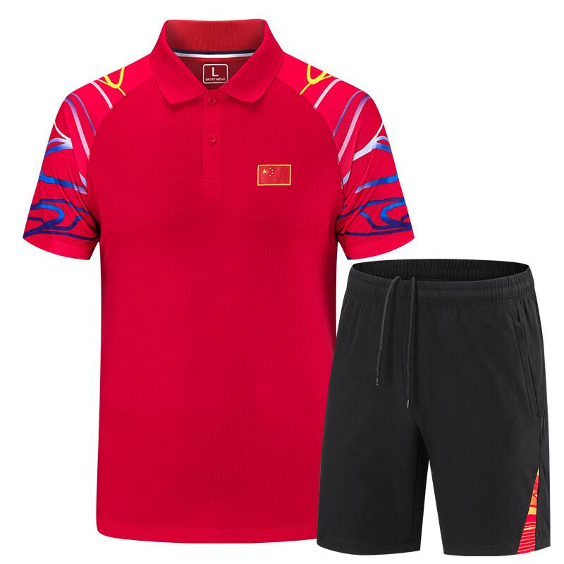 9212中国队国家队短袖运动套装男女国旗服情侣运动T恤体育学生教练衫