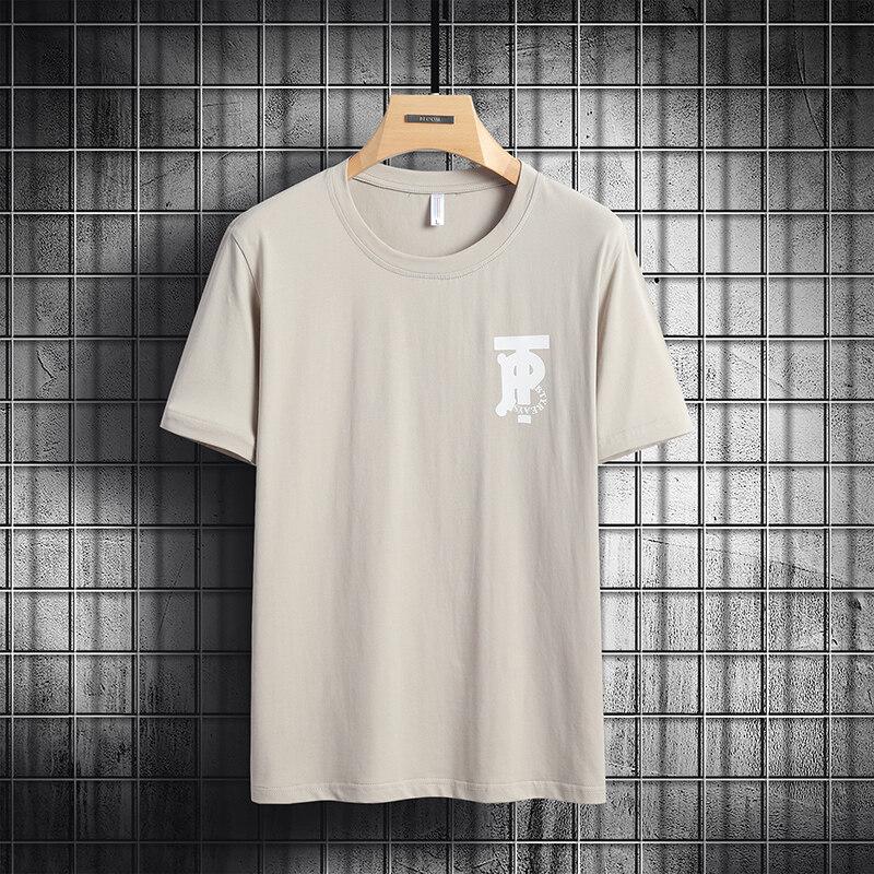 6861男士短袖t恤圆领宽松衣服夏季纯棉白半大码体恤男装(大码链接)