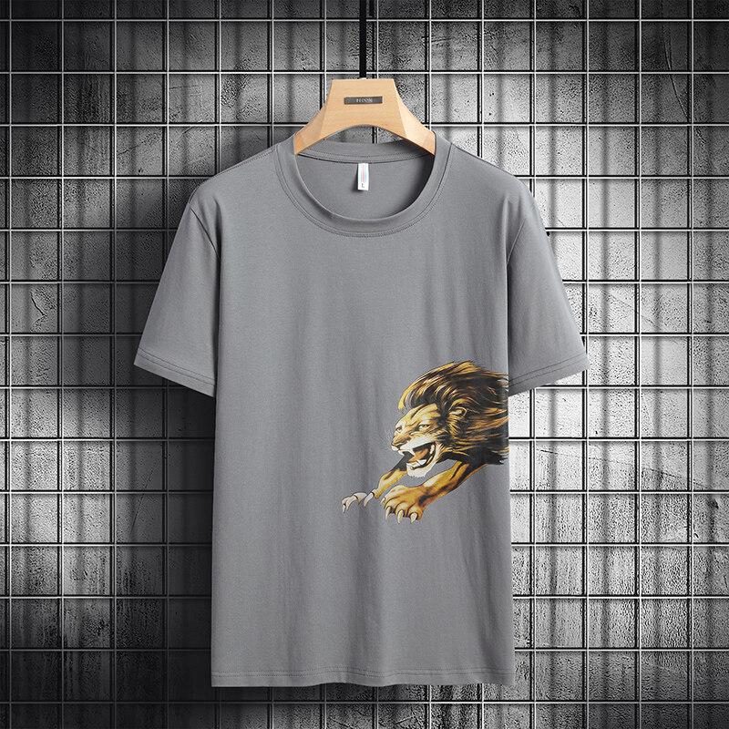 6862男士短袖t恤圆领宽松衣服夏季韩版纯棉大码半袖体恤(小码链接)