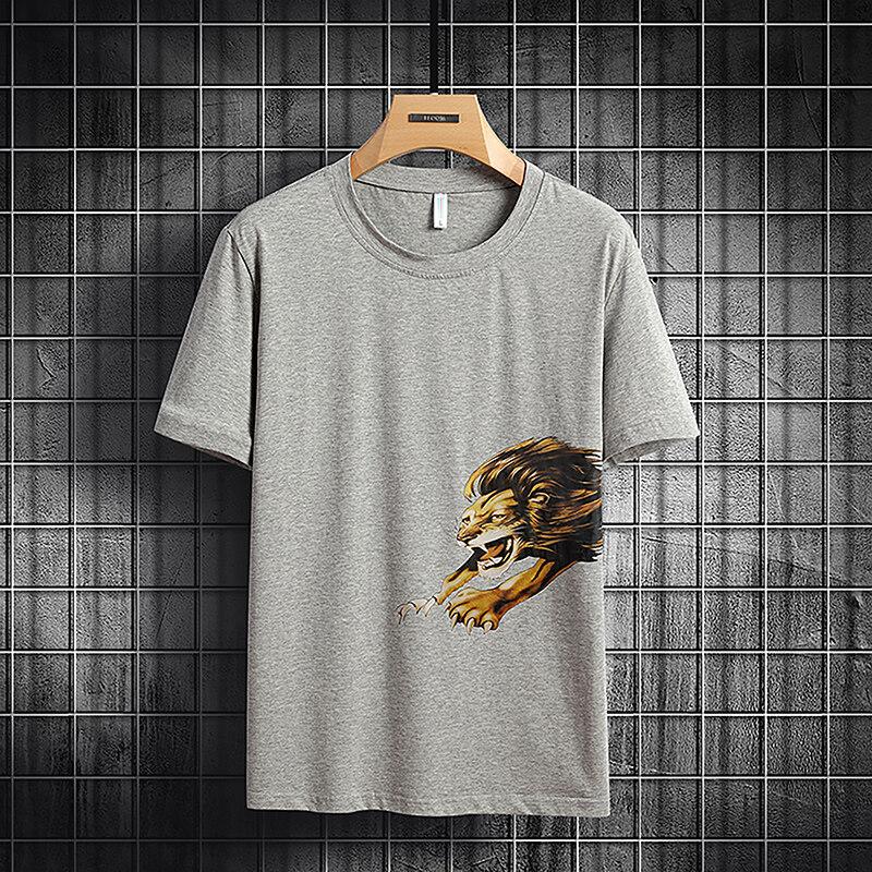 6862男士短袖t恤圆领宽松衣服夏季韩版纯棉大码半袖体恤(大码链接)