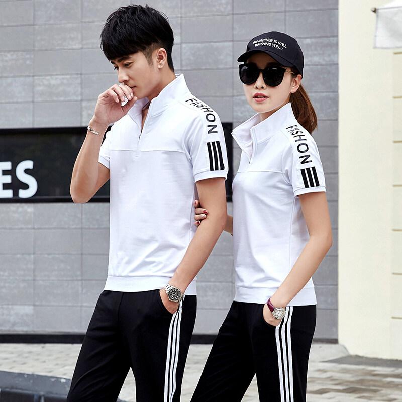 SHWPPD1718情侣运动套装夏季新款短袖T恤套装男跑步运动服夏装长裤两件套女