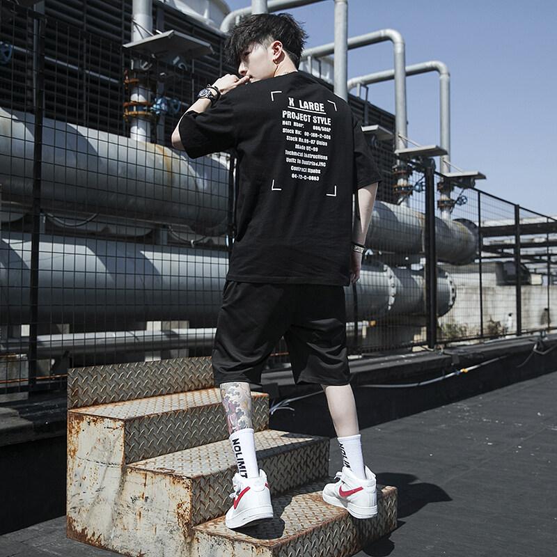 5203夏季短袖t恤套装男士休闲圆领体恤宽松大码运动男装潮流学生韩版