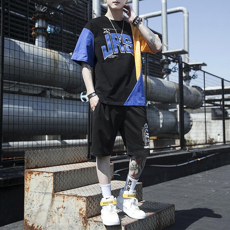 5207夏季短袖t恤套装男士休闲圆领体恤宽松大码运动男装潮流学生韩版
