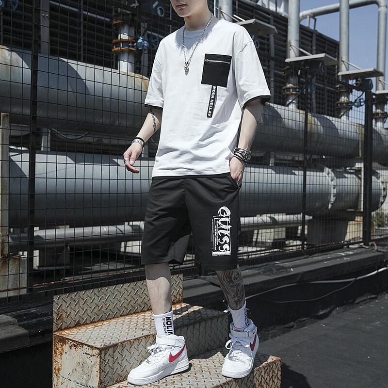 5209夏季短袖t恤套装男士休闲圆领体恤宽松大码运动男装潮流学生韩版