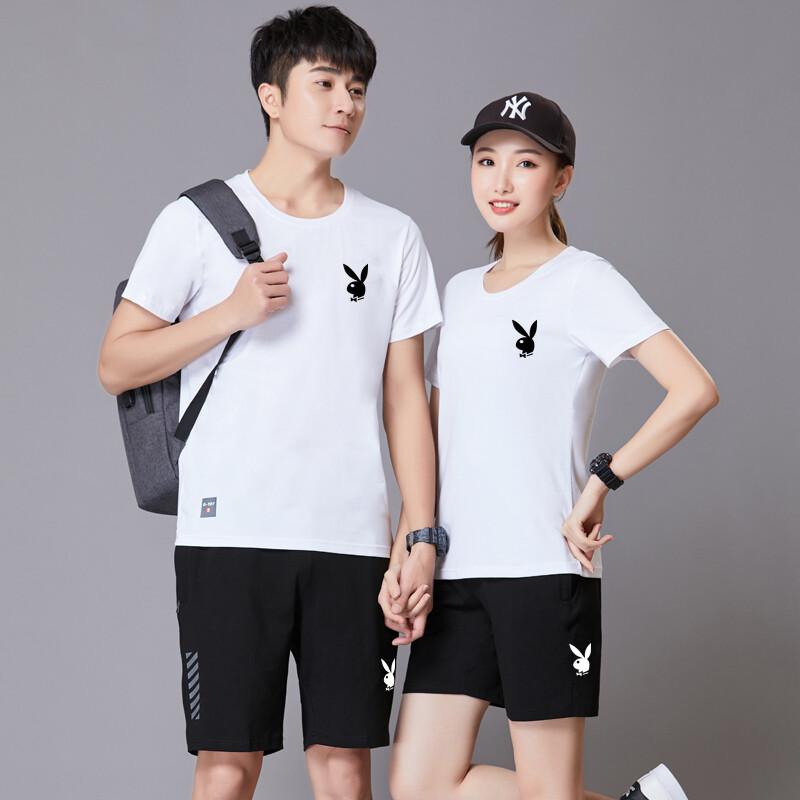 19055 运动套装男夏季新款短袖短裤跑步休闲运动服套装男女情侣装