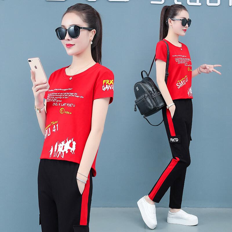 7706夏季运动套装女夏天运动服两件套大码纯棉2020新款休闲宽松