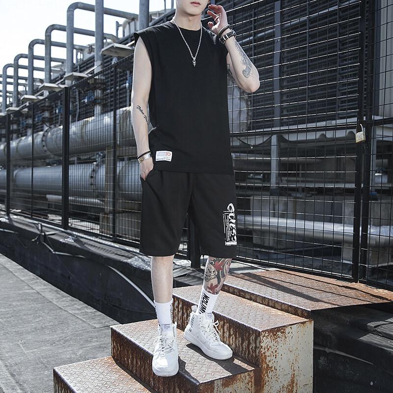 5210夏季短袖t恤套装男士休闲圆领体恤宽松大码运动男装潮流学生韩版