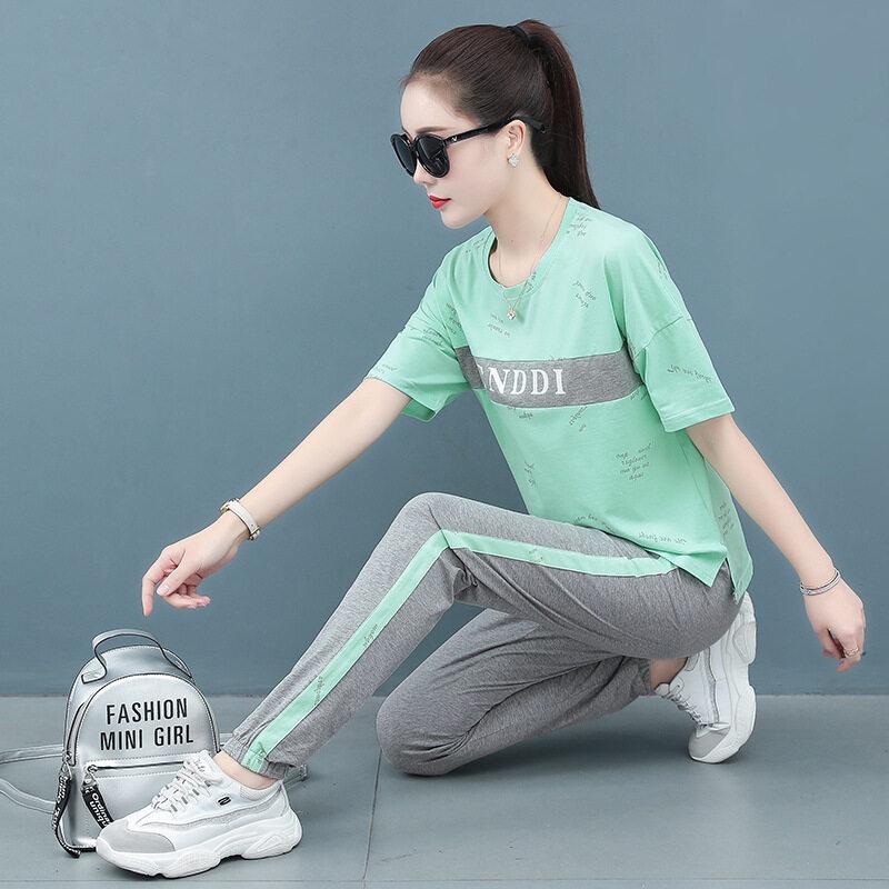 图荣夏季时尚休闲运动套装女韩版时尚印花撞色短袖长裤潮流两件套
