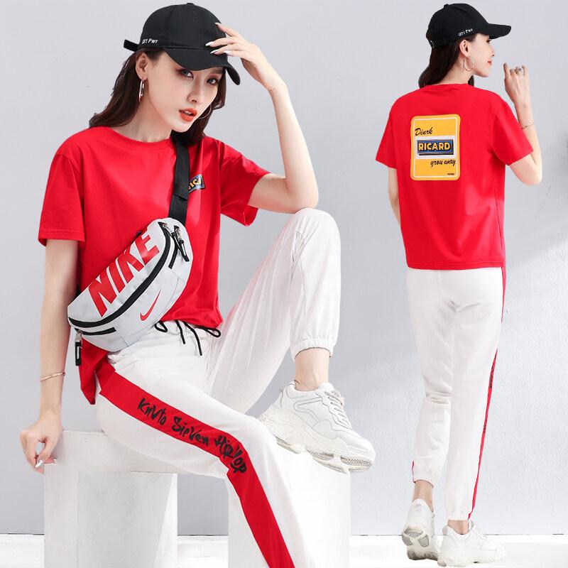 212现货代发2020新款时尚运动套装女夏季短袖长裤休闲韩版套装