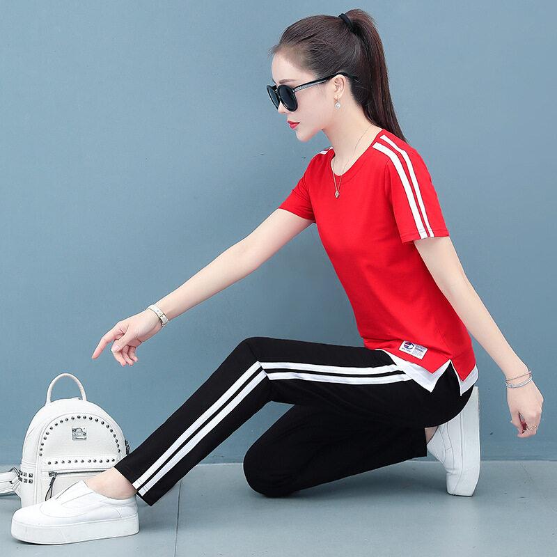 图荣夏季短袖长裤运动套装女韩版时尚棉质开叉T恤学生休闲两件套