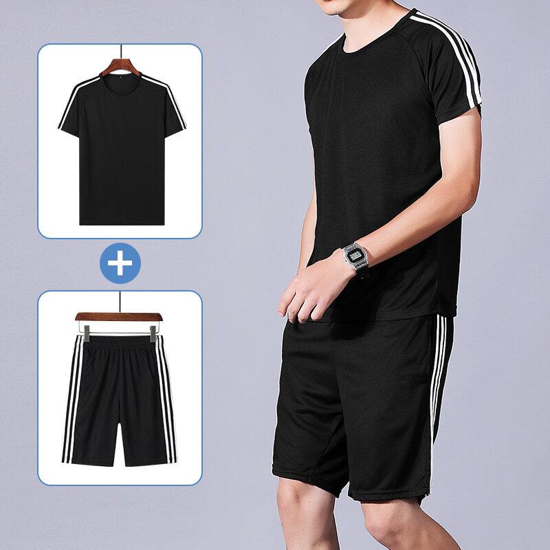 夏季运动套装男三条杠短袖休闲速干健身服宽松大码跑步服两件套潮