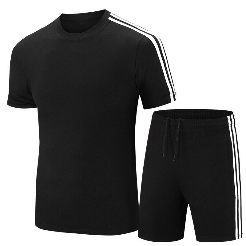 夏季休闲运动套装男三条扛短袖短裤两件套棉青少年学生跑步套装潮