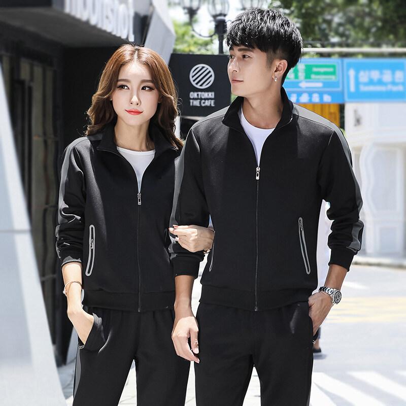 春秋新款运动套装男士跑步运动服女两件套开衫卫衣韩版修身休闲潮