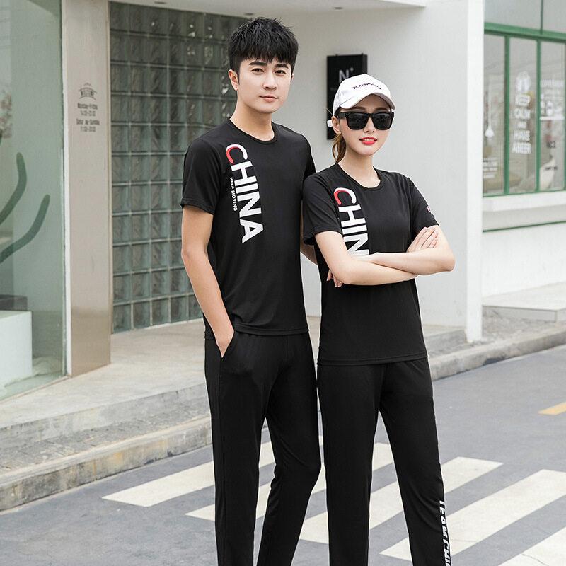 CHINA运动套装2020夏男女短袖情侣休闲训练跑步团体武术班服定制