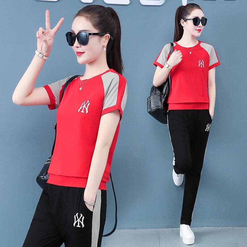图荣运动套装女夏季韩版时尚印花棉质宽松短袖长裤休闲两件套女装