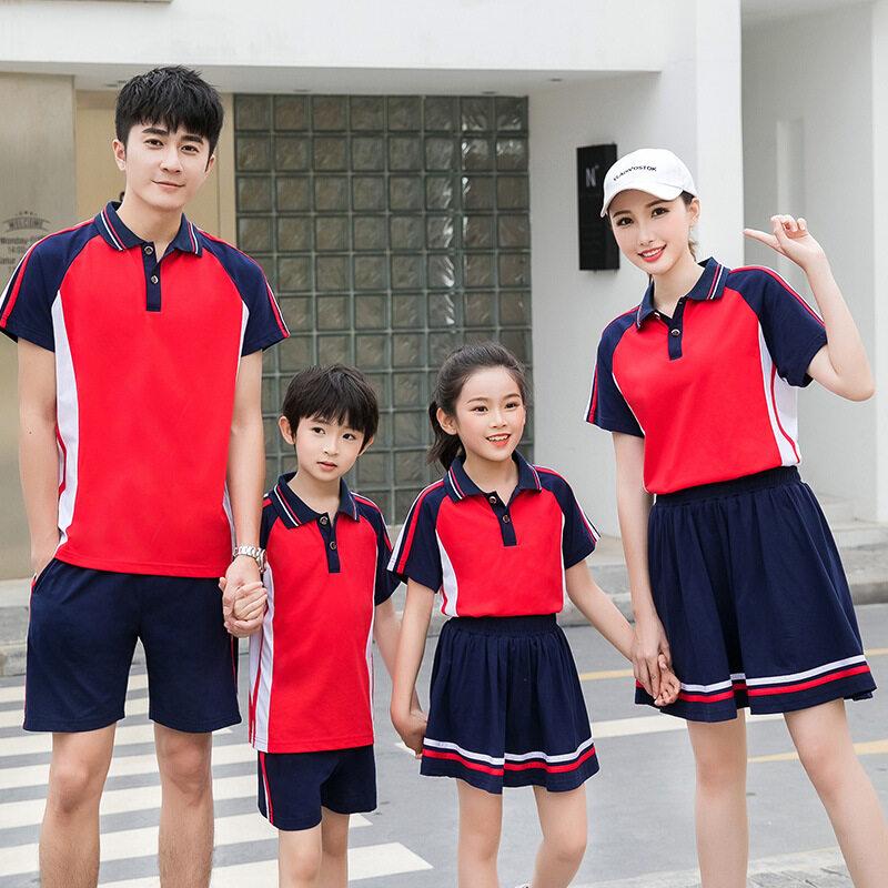 2020纯棉亲子运动短袖套装男女夏季跑步休闲户外团体服班校服定制