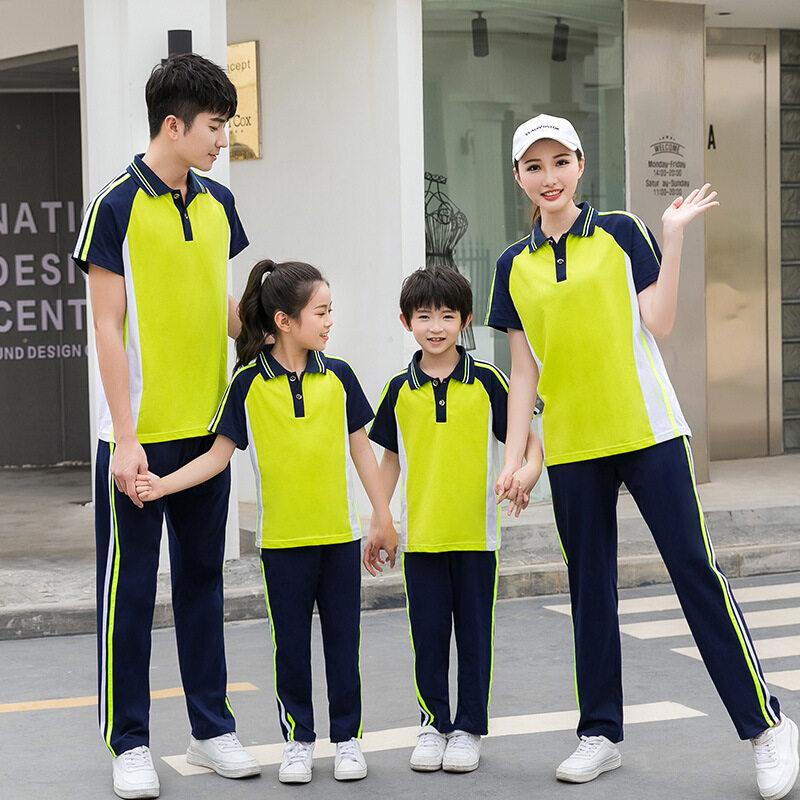 纯棉亲子短袖长裤运动套装男女夏季跑步休闲户外团体服班校服定制