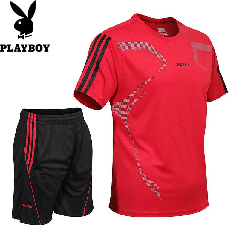 598498623173花花公子休闲运动套装男士夏季两件套男式运动衣训练服羽毛球足球