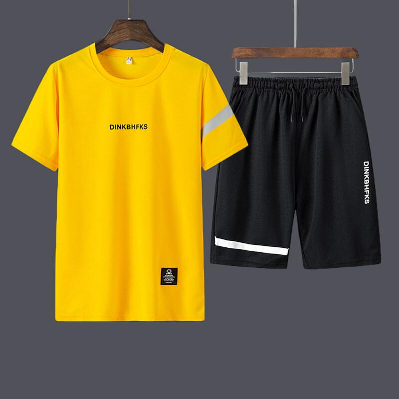 休闲运动套装男修身圆领T恤上衣加短裤两件套908P19