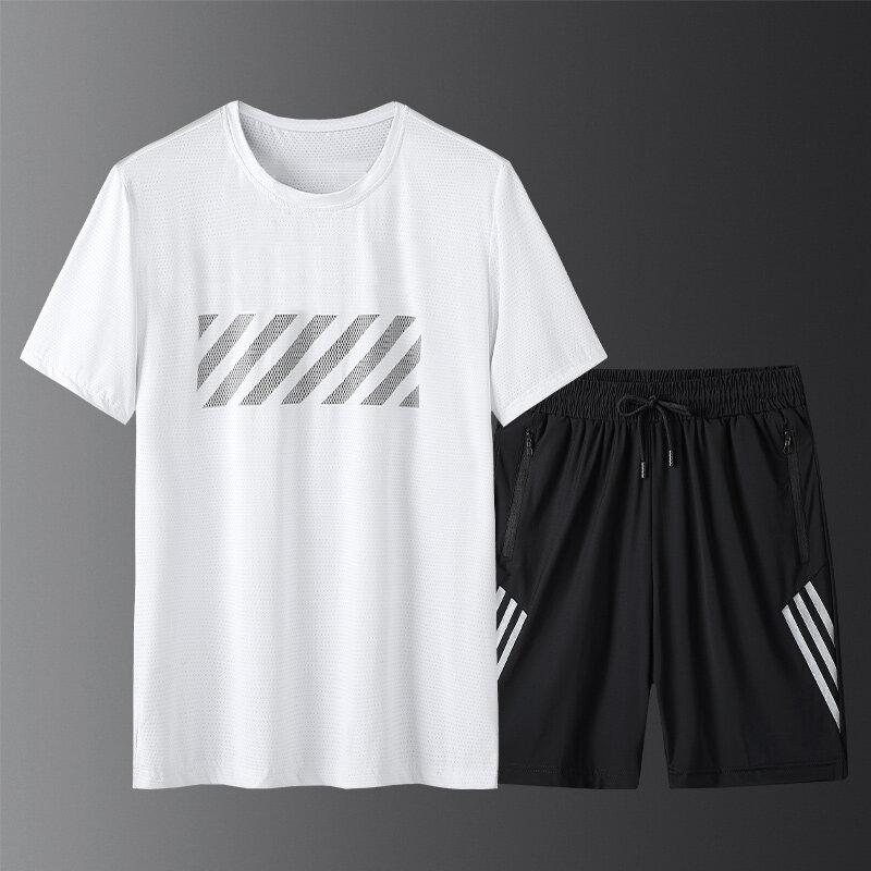 MM199299套装夏季运动套装男2020新款圆领T恤健身速干跑步网眼短裤两件套