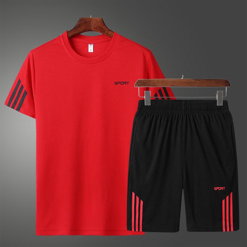 19082020夏季新款速干T恤男士套装短袖短裤两件套冰丝透气运动套