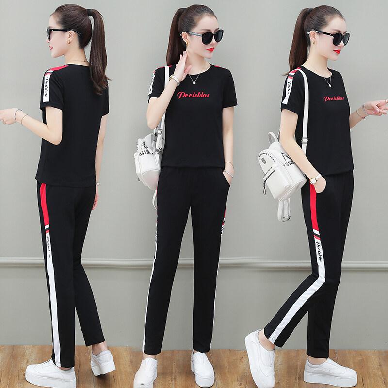 118N女套装时尚套装女修身套装夏季短袖长裤洋气时尚休闲套装两件套