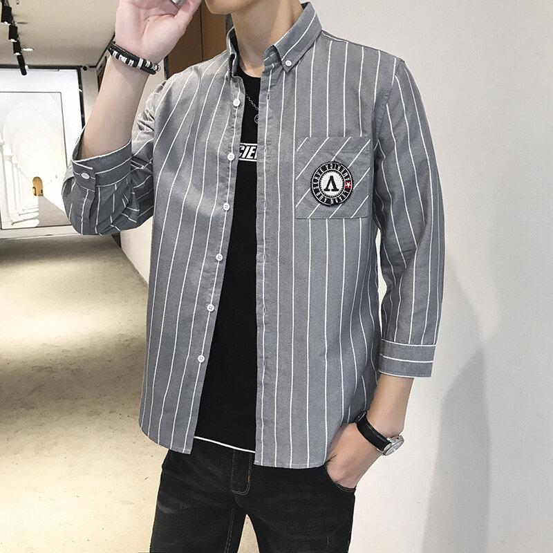 HC287短袖格子衬衫男夏季2020新款韩版潮流翻领宽松很仙的痞帅气上