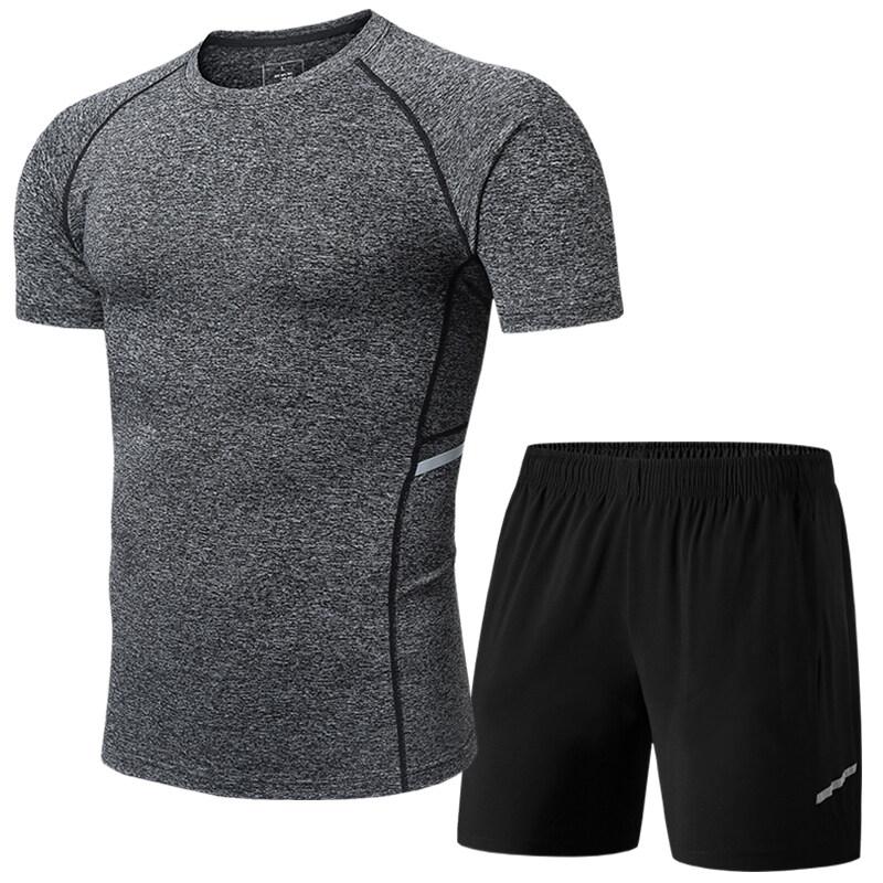 1302213022男士健身服夏季健身房跑步运动套装两件套新品