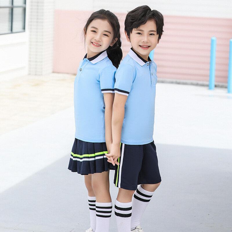 19121912夏季短袖短裤学生班服校服女童百褶裙套装比赛团购服