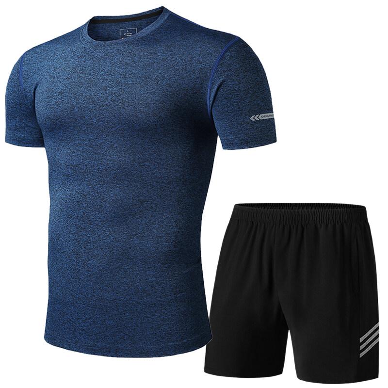 1302513025短袖短裤健身房训练服  两件套  篮球服