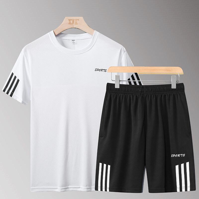88三条杠运动休闲套装男夏季短袖T恤男士跑步宽松短袖运动服