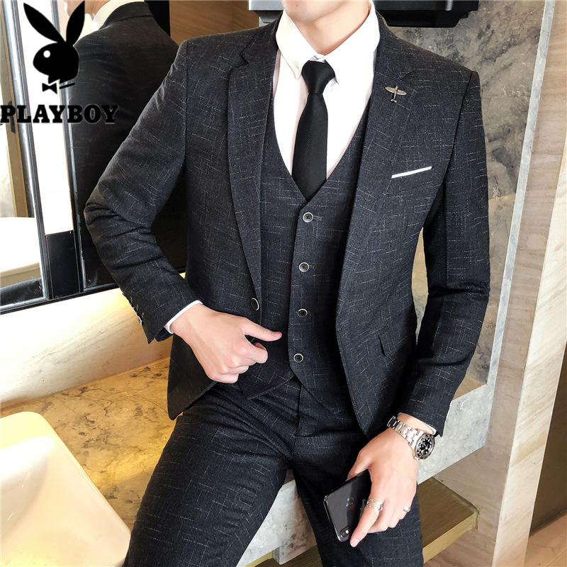 600735671373花花公子新款男士三件套西服时尚潮流男装青年韩版修身型舒适休闲