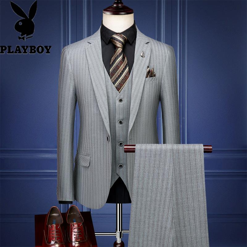 604922994221花花公子男士条纹西装三件套韩版修身商务定制礼服西服套装婚礼工