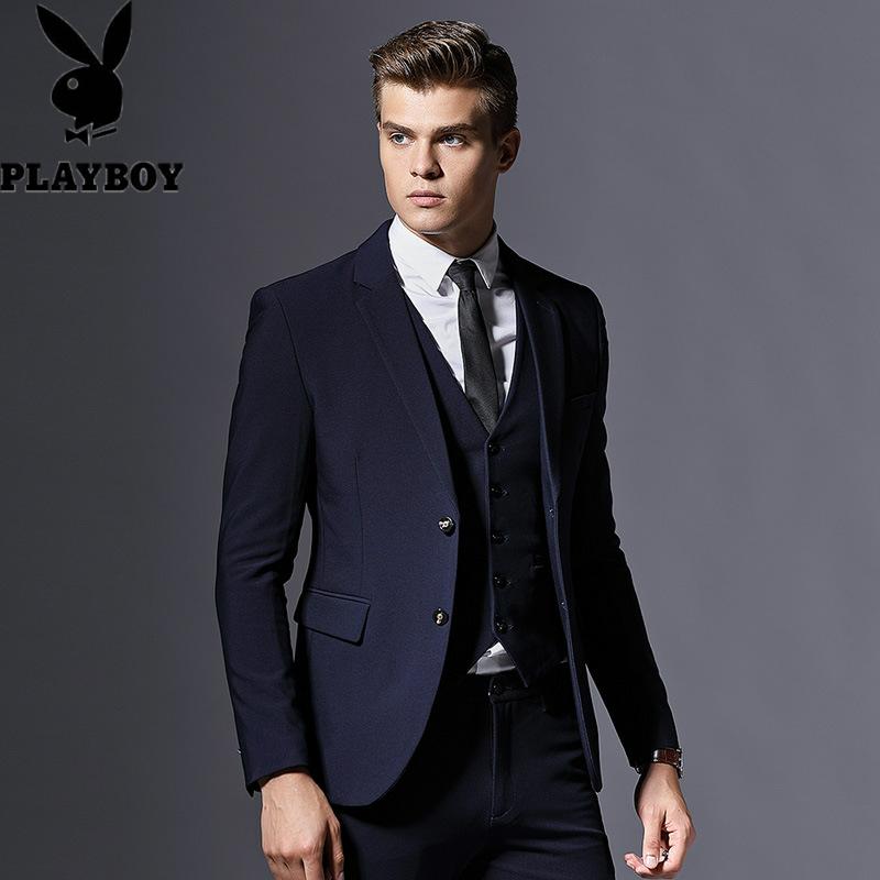 600248987978花花公子韩版绅士修身西装套装男职业正装二件套品质舒适光感面料